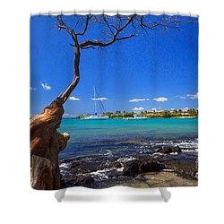 Boats At Anaehoomalu Bay Shower Curtain by James Eddy