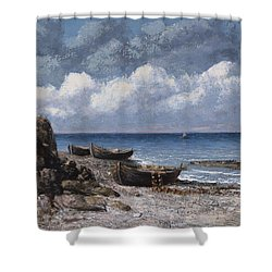 Boats At St Aubain Shower Curtain by Gustave Courbet