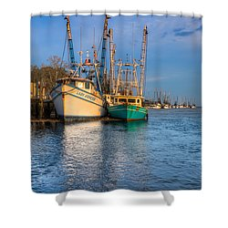 Boats In Blue Shower Curtain by Debra and Dave Vanderlaan