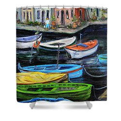Boats In Front Of The Buildings II Shower Curtain by Xueling Zou