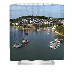 Boats In The Sea, Le Bono, Gulf Of Shower Curtain by Panoramic Images