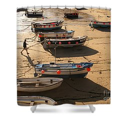 Boats On Beach Shower Curtain by Pixel  Chimp