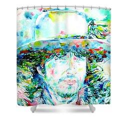 Bob Dylan - Watercolor Portrait.2 Shower Curtain by Fabrizio Cassetta