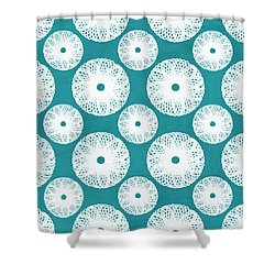 Boho Floral Blue And White Shower Curtain by Linda Woods