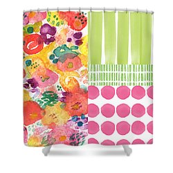 Boho Garden Patchwork- Floral Painting Shower Curtain by Linda Woods
