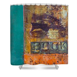 Book Cover Encaustic Shower Curtain by Bellesouth Studio