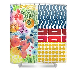 Bold Boho Patchwork- Abstract Art Shower Curtain by Linda Woods