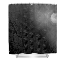 Bolts On The Trident In Black And White Shower Curtain by Rob Hans