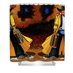 Bonnie And Clyde Shower Curtain by Lance Headlee