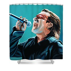 Bono Of U2 Painting Shower Curtain by Paul Meijering