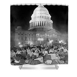 Bonus Army Sleeps At Capitol Shower Curtain by Underwood Archives