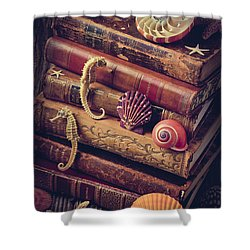 Books And Sea Shells Shower Curtain by Garry Gay