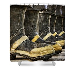 Boots On The Ground Shower Curtain by Joan Carroll