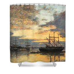 Bordeaux In The Harbor Shower Curtain by Eugene Louis Boudin