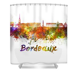 Bordeaux Skyline In Watercolor Shower Curtain by Pablo Romero