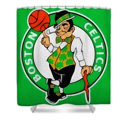 Boston Celtics Canvas Shower Curtain by Dan Sproul