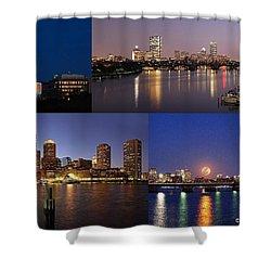 Boston City Skyline Shower Curtain by Juergen Roth