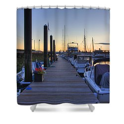 Boston Dock Sunrise Shower Curtain by Joann Vitali
