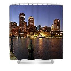 Boston Skyline And Fan Pier Shower Curtain by Juergen Roth