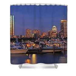 Boston Skyline In Blue And Gold Shower Curtain by Joann Vitali