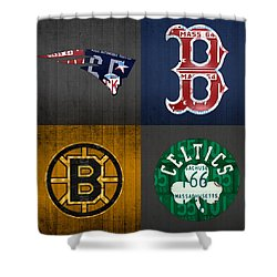 Boston Sports Fan Recycled Vintage Massachusetts License Plate Art Patriots Red Sox Bruins Celtics Shower Curtain by Design Turnpike