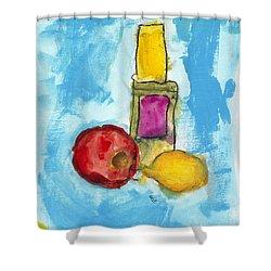Bottle Apple And Lemon Shower Curtain by Skip Nall