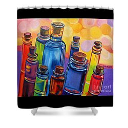 Bottled Rainbow Shower Curtain by Julie Brugh Riffey