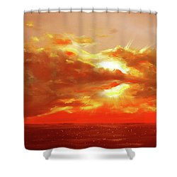 Bound Of Glory - Red Sunset  Shower Curtain by Gina De Gorna