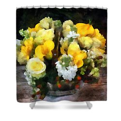 Bouquet With Roses And Calla Lilies Shower Curtain by Susan Savad