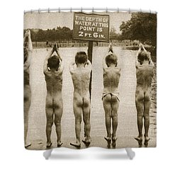 Boys Bathing In The Park Clapham Shower Curtain by English Photographer