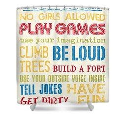 Boys Rules Shower Curtain by Debbie DeWitt
