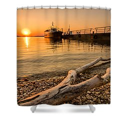 Branch Barge And Sunset Shower Curtain by Davorin Mance