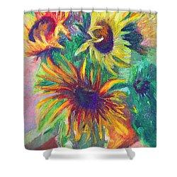 Brandy's Sunflowers - Still Life On Windowsill Shower Curtain by Talya Johnson