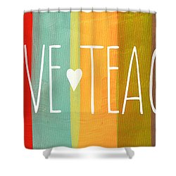 Brave Teacher Shower Curtain by Linda Woods