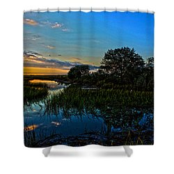 Break Of Dawn Over Low Country Marsh Shower Curtain by Savlen Art