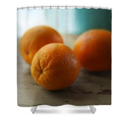 Breakfast Oranges Shower Curtain by Amy Tyler