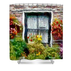 Brick And Blooms Shower Curtain by RC DeWinter