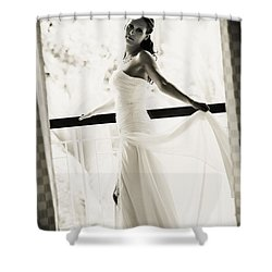 Bride At The Balcony. Black And White Shower Curtain by Jenny Rainbow