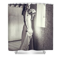 Bride At The Window. Black And White Shower Curtain by Jenny Rainbow