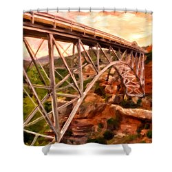 Bridge In Oak Creek Canyon Shower Curtain by Michael Pickett