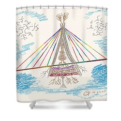 Bridge Of Light Shower Curtain by Mark David Gerson