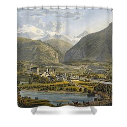 Brig On The Rhone, Bernese Alps Shower Curtain by Swiss School