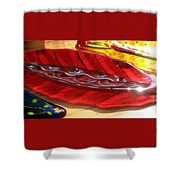 Brilliant Red Feather Glass Dish Shower Curtain by Donna Spencer