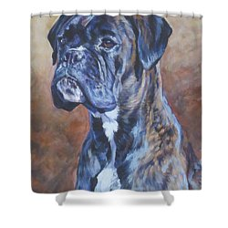 Brindle Boxer Shower Curtain by Lee Ann Shepard