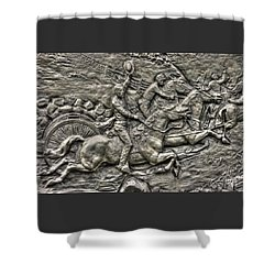 Bringing Up The Battery Detail-b 6th New York Independent Battery Horse Artillery Gettysburg Autumn Shower Curtain by Michael Mazaika
