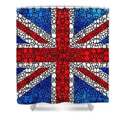 British Flag - Britain England Stone Rock'd Art Shower Curtain by Sharon Cummings