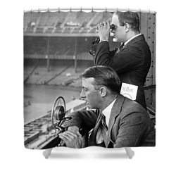 Broadcasting A Football Game Shower Curtain by Underwood Archives