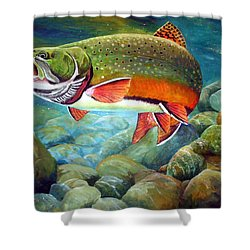 Brook Trout Breakfast Shower Curtain by Alvin Hepler