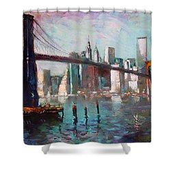 Brooklyn Bridge And Twin Towers Shower Curtain by Ylli Haruni