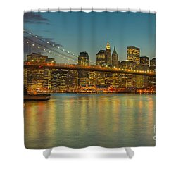 Brooklyn Bridge Twilight Shower Curtain by Clarence Holmes